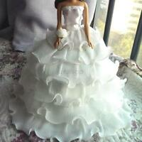 Charm White Wedding Party Bridal Gown Dress Clothes for Barbie Doll Handmade D71