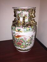 LARGE 14 INCH  CHINESE CANTON MEDALLION FAMILLE ROSE VASE 19TH C WITH GILD