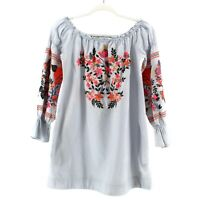 Free People Fleur Du Jour Mini Dress Blue Size XS Embroidered Puff Sleeves