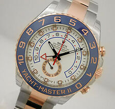 Rolex YACHTMASTER 2 116681 Mens Steel & Pink Gold Blue Ceramic Bezel 44MM