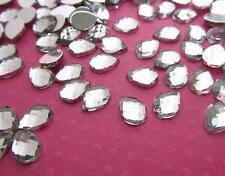 100 Multi-facet Cut Crystal Clear 10mm Acrylic Rhinestone/princess E52-Tear Drop