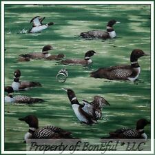 BonEful Fabric FQ Cotton Quilt Green Brown Duck Hunting Cabin Lake Water Scenic