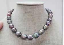 Top huge 12x15-13x19mm natural Tahitian genuine black peacock pearl necklace 14k