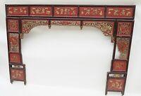 Unikat Antik China Holz Relief Bett-Schnitzarbeit Opiumbett Hochzeitsbett 19Jh