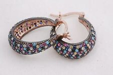 Sapphire Ruby Topaz Earrings 925 Sterling Silver Turkish Handmade