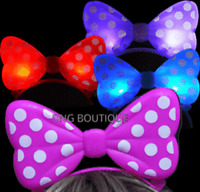 12 PCS LIGHT UP POLKA BOWS HEADBANDS MINNIE MOUSE EARS MICKEY FAVORS BAG PARTY