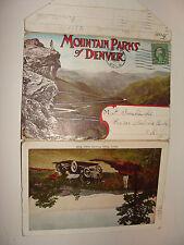 Mountain Parks of Denver Colorado Souvenir Folder Mailer fold-out 1920  stamp PC