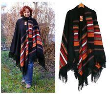 Alpaka Poncho schwarz rot, lang+elegant, Cape m.Schal,Fransen, weich leicht+warm