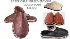 BABOUCHE MAROCAINE 100 % CUIR COUSU MAIN CHAUSSON PANTOUFLE NEUF !