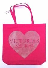 VICTORIAS SECRET PINK SEQUIN HEART CANVAS TOTE SHOPPING BEACH BAG