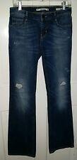 Zara Woman distressed denim rhinestone pocket boot cut jeans. 6 tall long