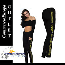 LEGGINGS DONNA PANTALONI COLLANT ELASTICIZZATI PALESTRA STRISCE YELLOW top STOCK