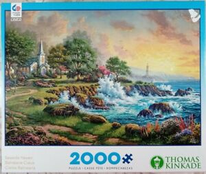 "CEACO Thomas Kinkade SEASIDE HAVEN 2000p Jigsaw Puzzle 38x26"" lighthouse cottage"