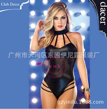 New Hot Sexy Lady Women Cocktail Party patent leather Mini clothing S-M 25698