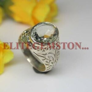 Natural Green Amethyst Gemstone with 925 Sterling Silver Ring for Men's #2096