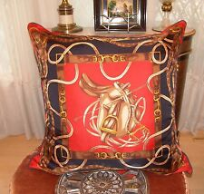 Authentic Ralph Lauren Humongous Equestrian Silk Linen Decorative Down Pillow