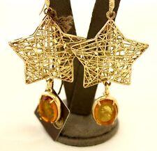 Orecchini pendenti Patrizia Daliana in bronzo dorato con stella, cammeo in vetro