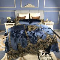 Luxury 800TC Silk Cotton Lace Bedding Set Duvet Cover Sets Bed Sheet Pillowcase