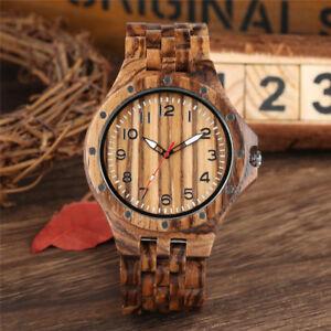 Handmade Nature Wood Bamboo Quartz Watch Men Full Wooden Creative Watches Gift