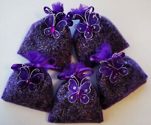 BLUE LAVENDER IN ORGANZA BAGS.  5 BAGS OF HIGH QUALITY LAVENDER FROM TASMANIA