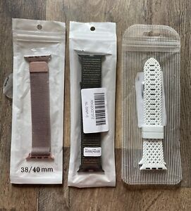 SET OF THREE - Dressy/Casual/Sport - Bands for Apple Watch - 38/40mm
