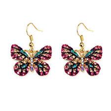 Betsey Johnson Pink Crystal Rhinestone Butterfly Dangle Hoop Earrings for Women