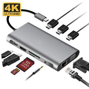 10 in 1 Type C Hub Laptop Docking Station HDMI VGA RJ45 PD Multi USB 3.0 Adapter