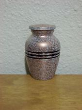 White Dark Gold Flecked w/3-Ring Band Solid Brass Keepsake Mini Urn w/Velvet Bag
