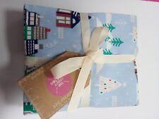Christmas fat quarter bundle, Snowy Houses 6 pieces, 100% cotton, free P&P,