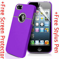 Deluxe PURPLE Hard Case Cover Chrome for Apple iPhone 5S SE 5G  5  + Protector