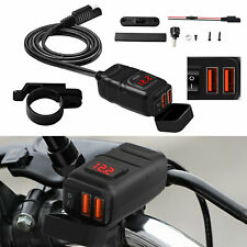Motorcycle Car Phone Fast Charger 12V Dual USB QC 3.0 with Red Digital Voltmeter