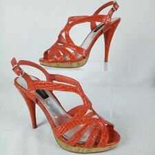 "White House Black Market Stiletto Women Size 6.5 Open Toe Red 4.5"" High Heels"
