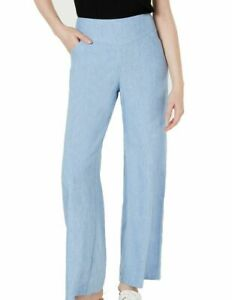 BNWT INC Women's Casual Linen Pants Blue Size US 10X30 Wide Leg Chambray Pockets