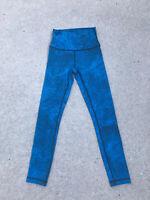 LULULEMON Active Leggings Women's Leggings Size 4 Black/Turquoise NEW