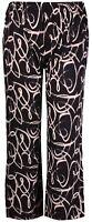 Womens 14 - 26 Black Cream Print Straight Leg Stretchy Trouser Elastic Waist