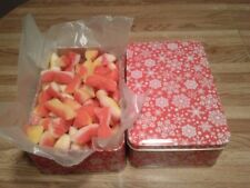 2-LBS SNOW FLAKES TIN OLD SCHOOL PEACH BUDS CANDY  W/COCONUT CENTER