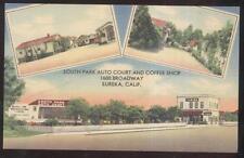 Postcard EUREKA CA  South Park Motel Motor Court Cabins & Coffee Shop 1930's