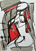 SEVARD Abstrakte Komposition Gemälde Zeichnung A4 Original Signiert Unikat N538
