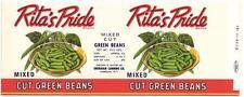 Wholesale Dealer's Lot 100 Rita's Pride Green Beans Can Labels Sheridan, N. Y.