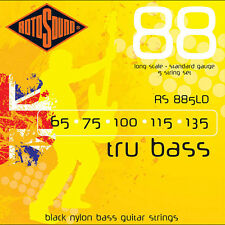 Rotosound RS885LD Black Nylon Flatwound 5-String Bass Guitar Strings 65-135