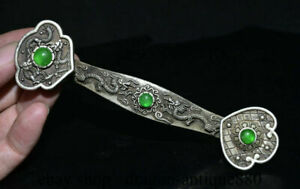"6"" Old China Silver inlay Green Jade Dynasty Feng Shui Ruyi Dragon Statue"