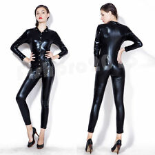 Women Hot Bandage Leotard Top PVC Jumpsuit Playsuit Long Sleeve Bodysuit Catsuit