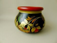 Vintage Russian Turned Wood, Hand Decorated Bowl, Cachepot