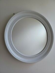 White Beaded Detail Round Frame Mirror Wall Art Living Room Hall way Mirror New