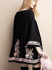 NWT Dress Tunic Floral Embroidered Swing Mini Bell Sleeves black pink lined L