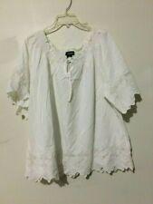 Lane Bryant White Lace Trim Off Shoulder WOMEN Top Blouse Size 18/20W Stylish