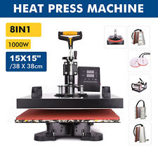 8 in1 Heat Press Machine 360°Swing Away T-Shirt Hat Mug Printing Press 15x15