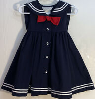 Sophie Rose Baby Girl's Dress Sailor Navy Blue Red Front Bow Anchor Buttons EUC