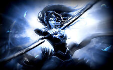 Framed Print -  Fantasy Elf Hunter Woman with Bow & Arrow (Picture Poster Art)