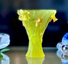 """Daum Jonquille Daffodils large vase 9.75"""" Retail $4000+ Mint with Box & Papers"""